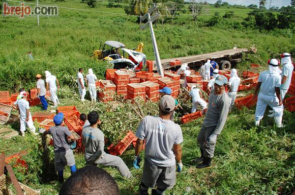 Caminhão da Guaraves capota em rodovia que liga Guarabira à Araçagi