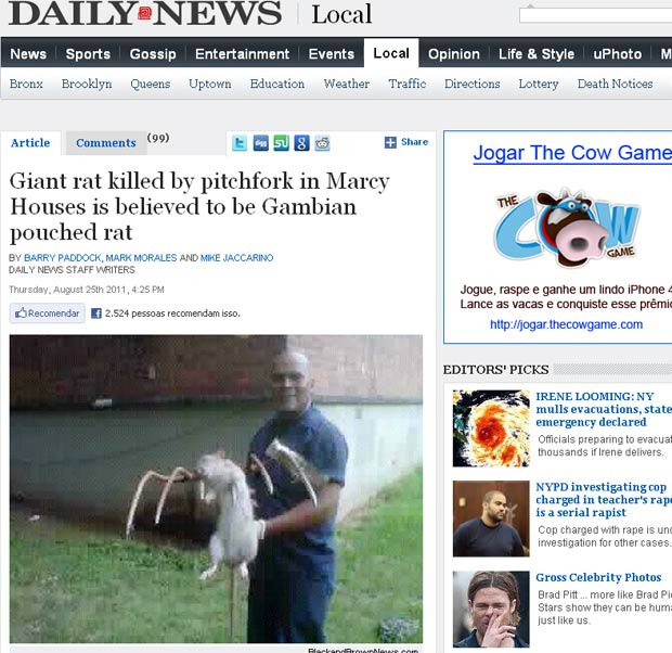 Jose Rivera exibe rato gigante. (Foto: Reprodução/NY Daily News)