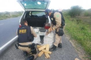 Ação conjunta entre PRF e PF apreende 74 quilos de maconha na BR 230