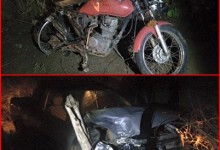 Abalroamento entre carro e moto deixa duas vítimas fatais em Tacima